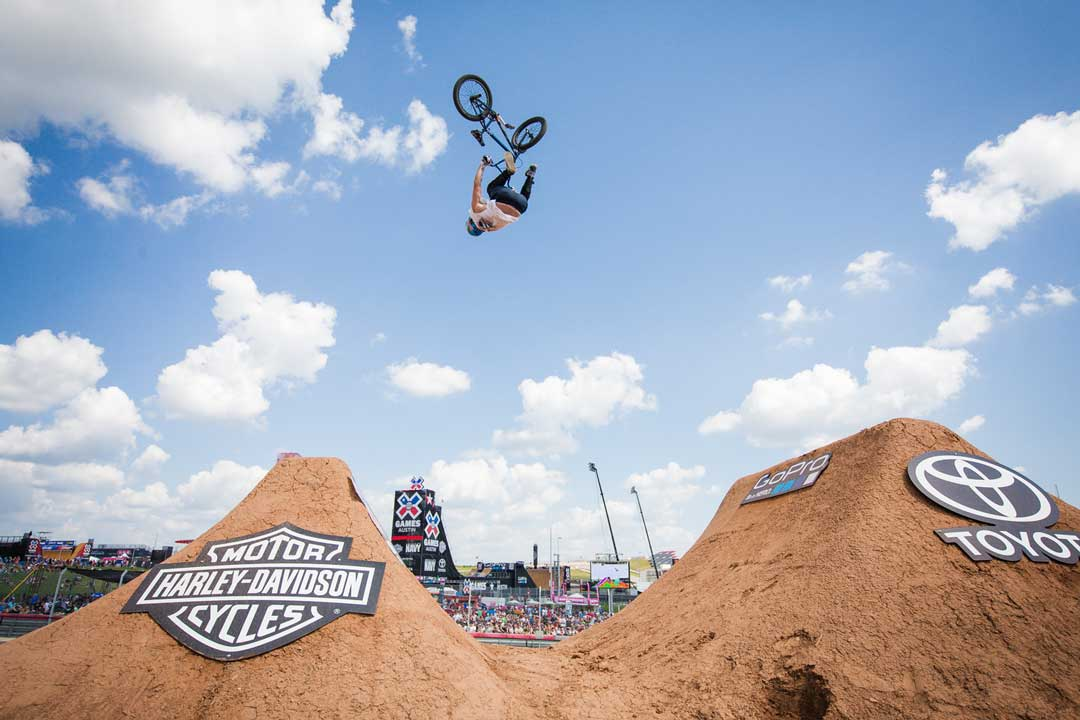Mike Clark competing in the BMX Dirt Finals during the X Games.