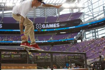 Ryan Sheckler grinding a rail during the free skate at X Games Minneapolis 2017.