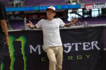 Ryan Sheckler taking a break during the free skate at X Games Minneapolis 2017.