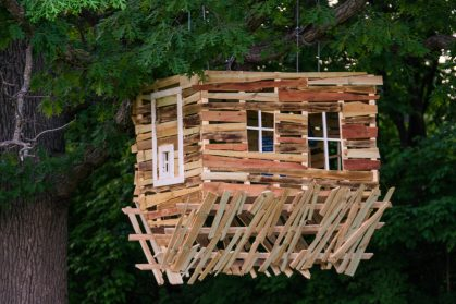 Photo of upside-down tree house structure at the Minnesota Landscape Arboretum's tree houses exhibit.