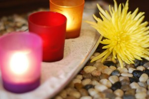 Relaxing candles at a spa