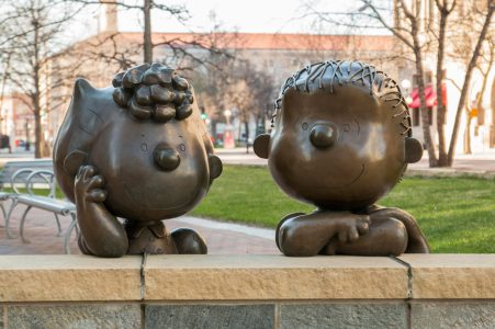 Bronze Peanuts statues in Rice Park in downtown St. Paul.