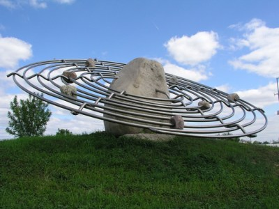 A public art piece of Saturn in Minneapolis.
