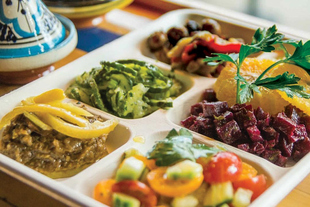 The salad sample at Morrocan Flavors, one of the many Minneapolis and St. Paul restaurants.
