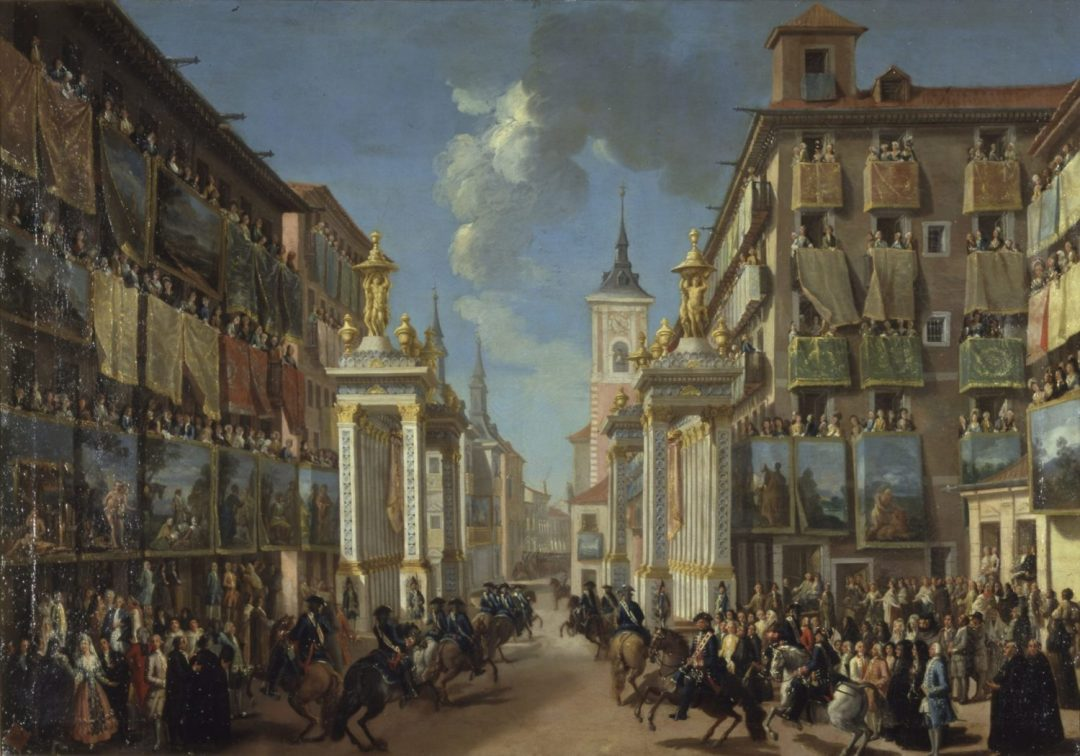 Lorenzo Quiros, Spanish, 1717-1789, The Decoration of the Calle platerias for the Entry of Charles II in Madrid, c.1760. Oil on canvas