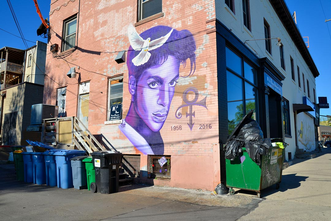 The Prince mural on the Sencha Tea building in Minneapolis, one of the best Minneapolis Murals.