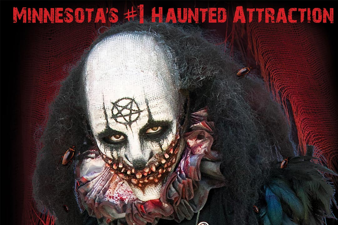A portrait of a clown at Scream Town, one of the many haunted houses in the Twin Cities.
