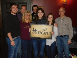 Group of people finished escape room