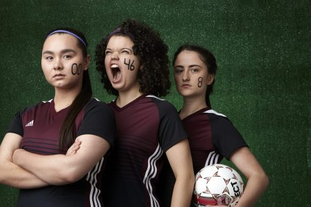 "Photo by William Clark, courtesy of Jungle Theater. Three of the fierce soccer players in ""The Wolves"" this spring."