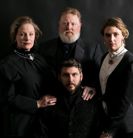 "Tina Frederickson, Tim Perfect, Hannah Steblay and Tim McVean all dressed in black looking particularly somber in Wayward Theatre Co.'s ""Hamlet,"" which plays at the James J. Hill House throughout March."