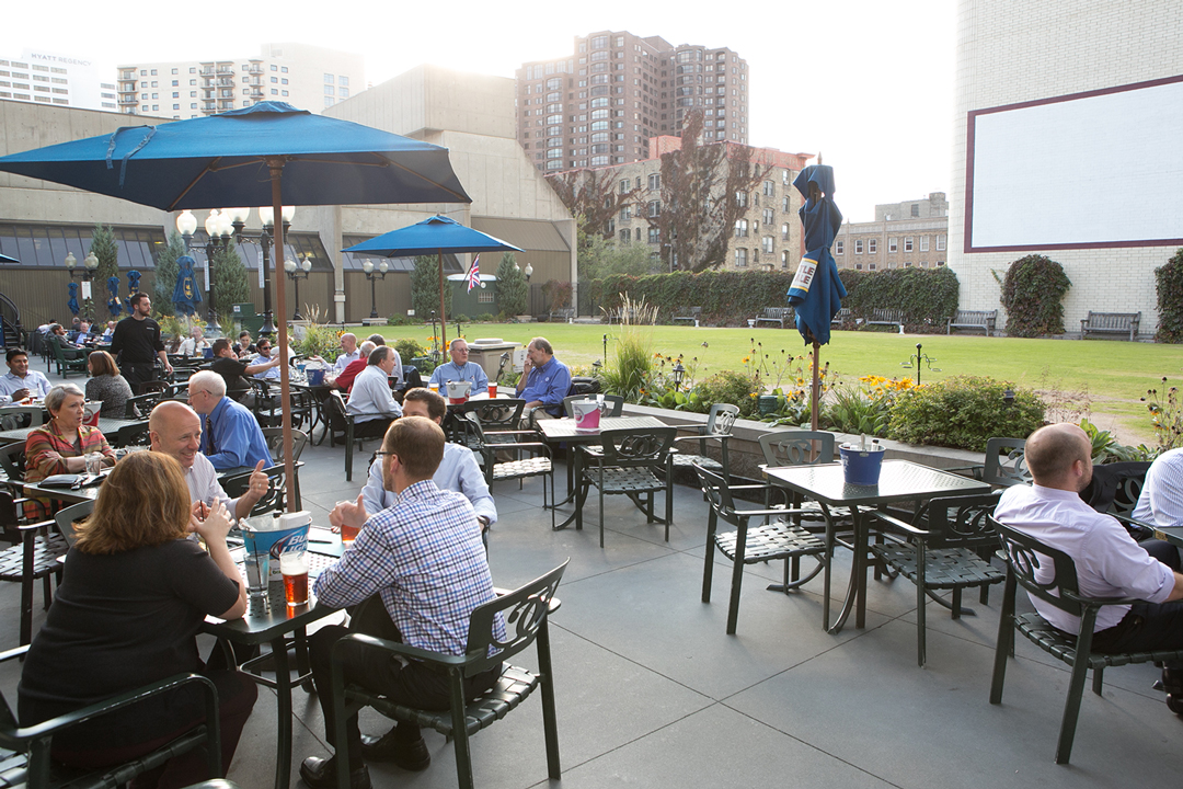 People dining on the rooftop at Brit's Pub in downtown Minneapolis, Minnesota.