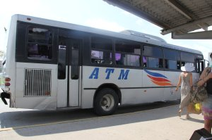 ATM bus in front of Walmart in Puerto Vallarta Mexico