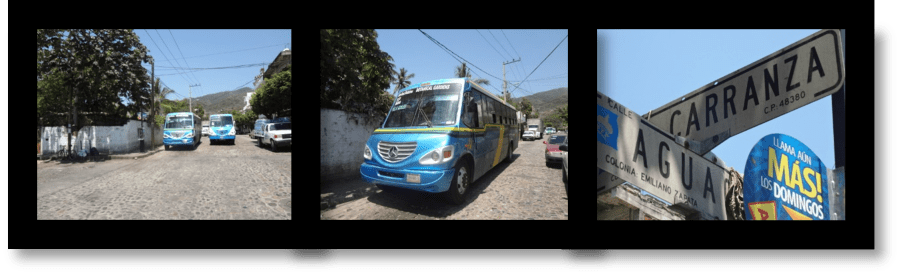 Picture of blue bus from downtown Puerto Vallarta
