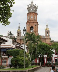 Centre / Centre-ville: Our Lady of Guadalupe Church with Crown in Puerto Vallarta Mexico