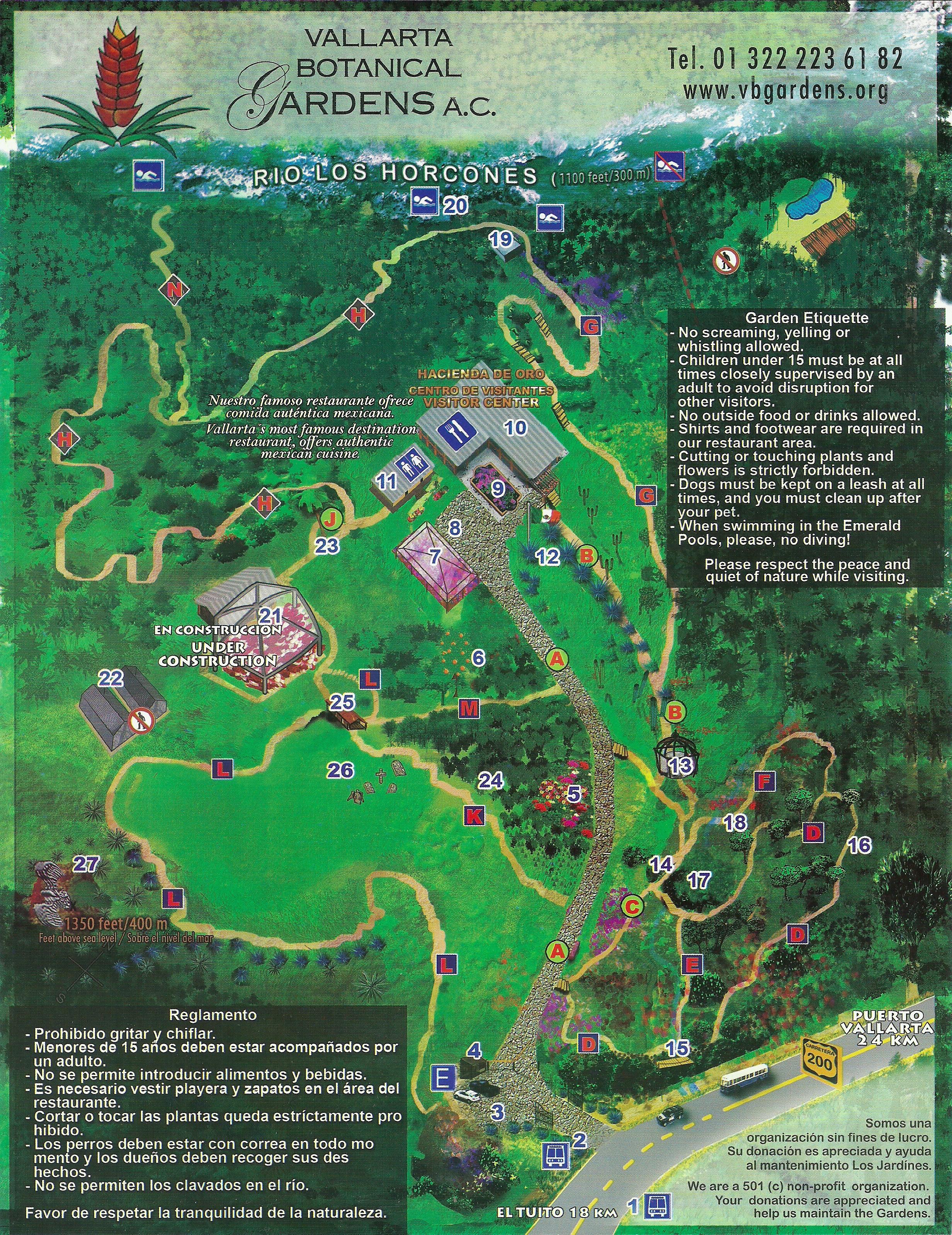 Exceptionnel Botanical Gardens Map, Puerto Vallarta, Mexico
