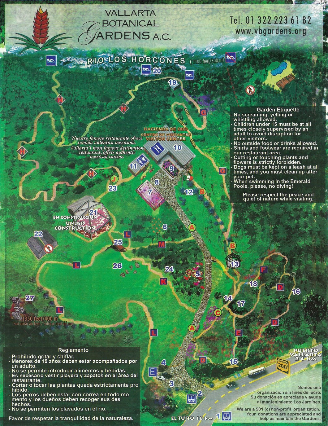 Botanical Gardens Map, Puerto Vallarta, Mexique