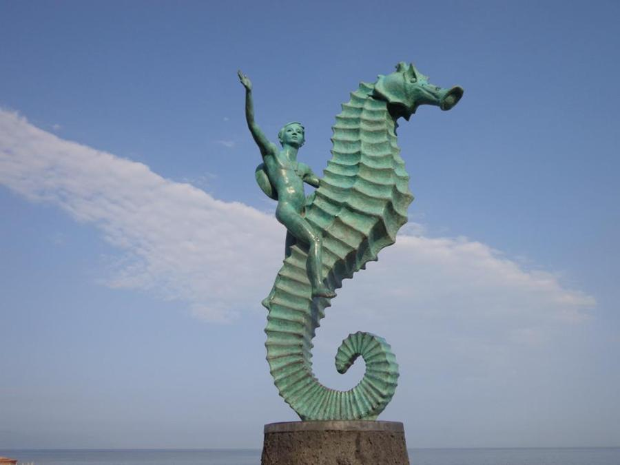Visit Puerto Vallarta and view PV icon Caballero del Mar.