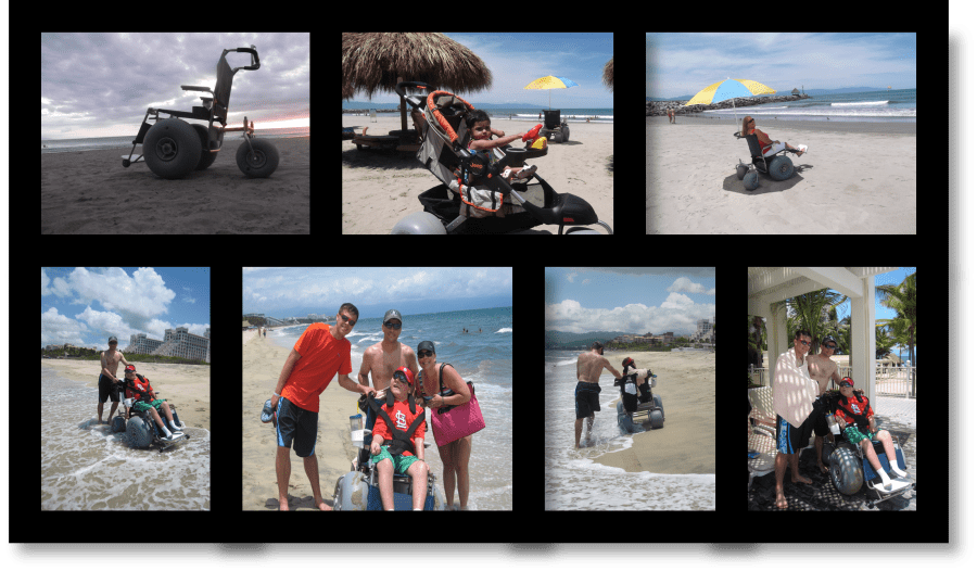Beach wheelchair and beach stroller available for rent from Beachcrossers Puerto Vallarta
