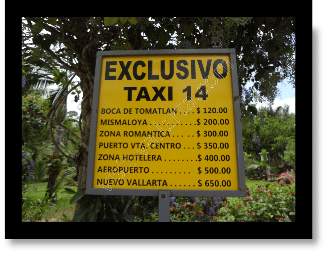 Taxi Rate Sheet Posted at Botanical Gardens in Puerto Vallarta, Mexico