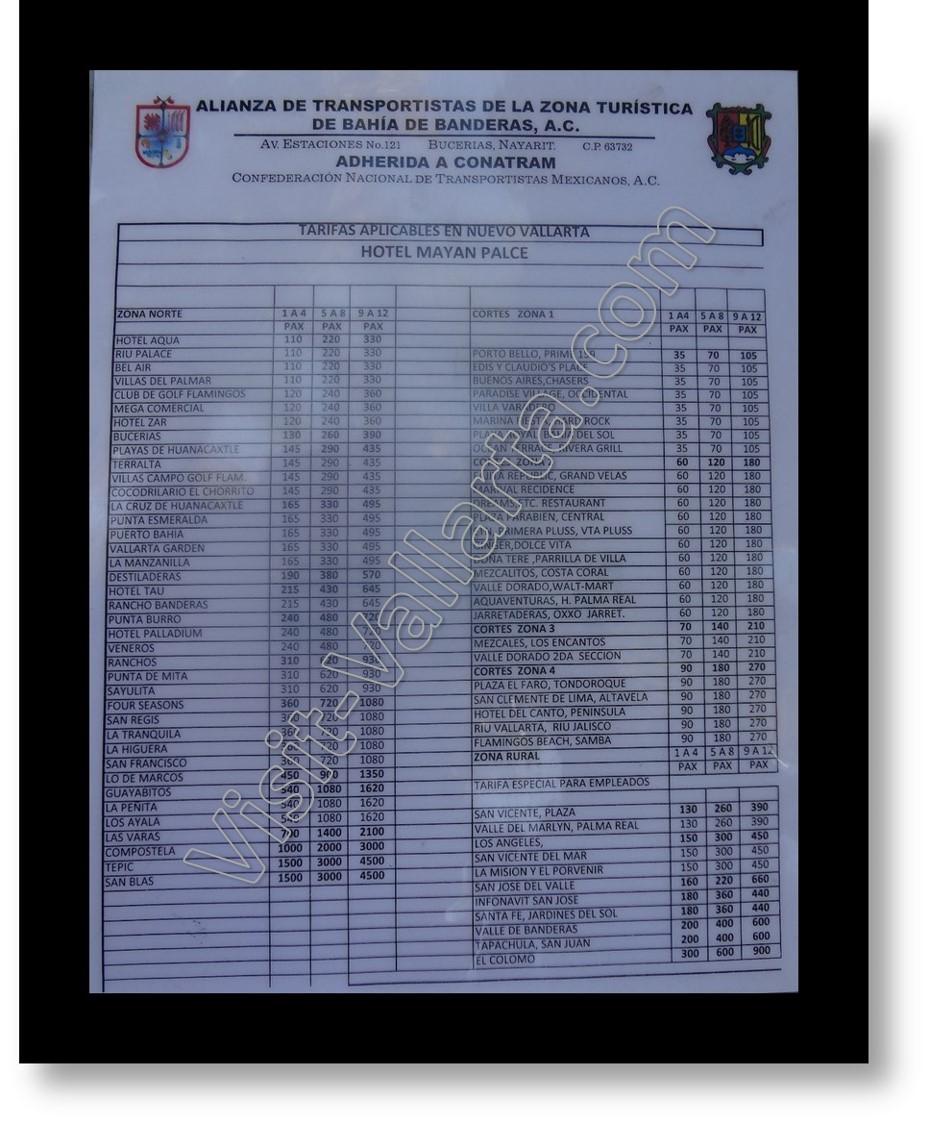 Taxi Rate Sheet - Taxi Rates Sheet Nuevo Vallarta, Mexico