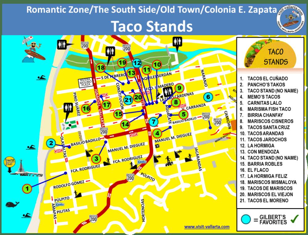 Map of Puerto Vallarta Street Taco Stands