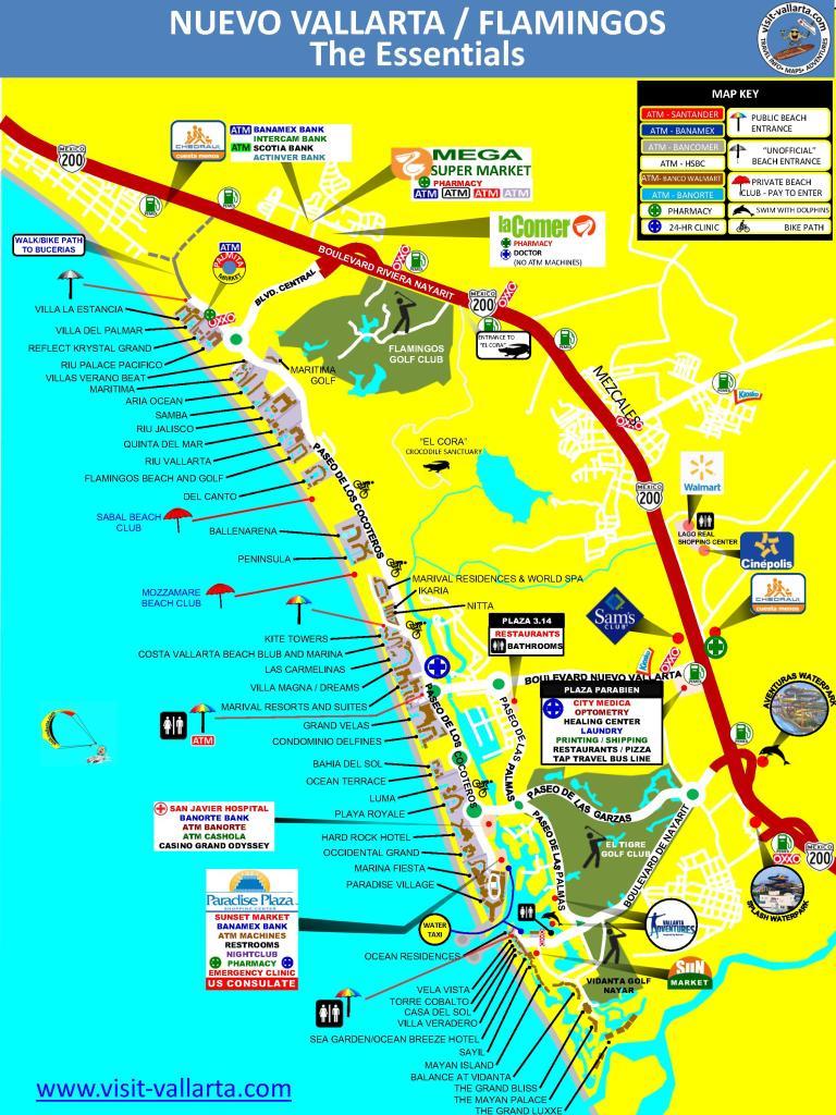 Map of Nuevo Vallarta, Nayarit - The essential information in jpeg format