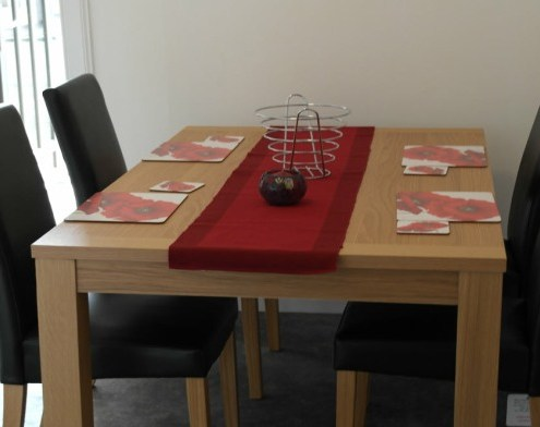 Dining table in holiday house accommodation