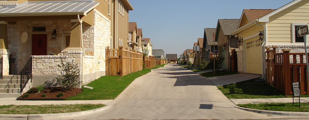 Example: A Raised Alley Leads to Zero Step Entrances via Attached Garages in Austin, TX