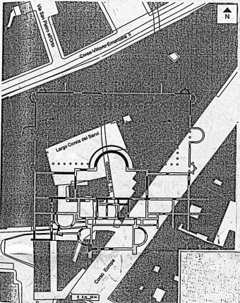 Mapa de la zona de las antiguas termas de Milán