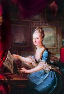 La Espineta  de Guarracino - Cuadro de María Antonieta que toca una espineta