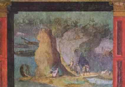Pintura de un pasaje de Odisea - Casa Romana - visitas guiadas milan