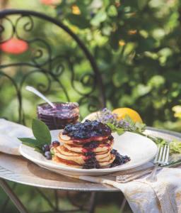 Breakfast of Lemon Ricotta Pancakes at Inn Around the Corner