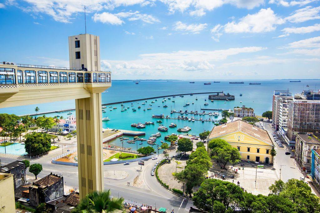View of All Saints Bay (Baia de Todos os Santos) in Salvador, Bahia, Brazil.