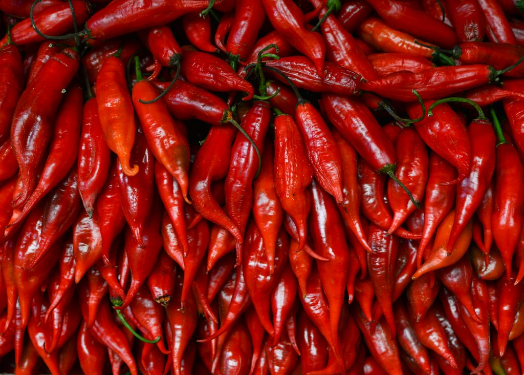 Red peppers texture background