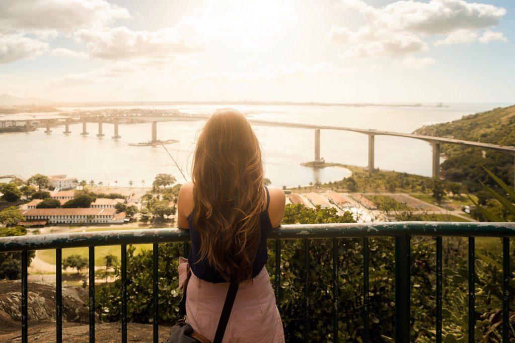 Woman enjoying view of Vitoria, Espirito Santo state