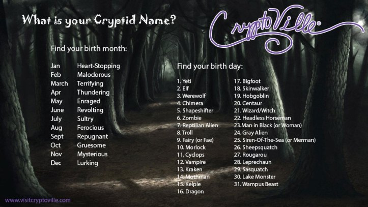 Whatisyourcryptidname