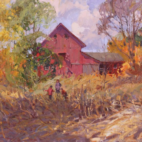 Painting of Farmhouse and Barn by Merfeld