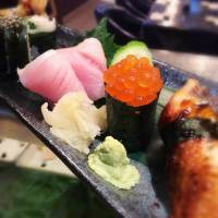 sushi plate at Shangri-La restaurant