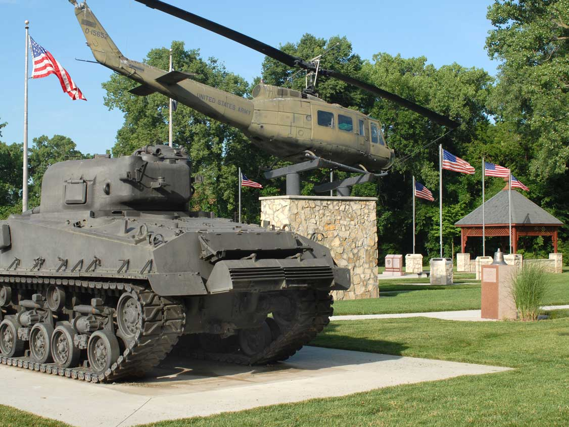 tank and helicopter at the All veterans memorial park