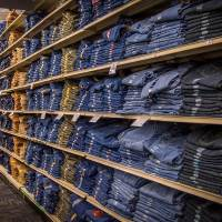 wall of jeans at Bluestem Farm and ranch