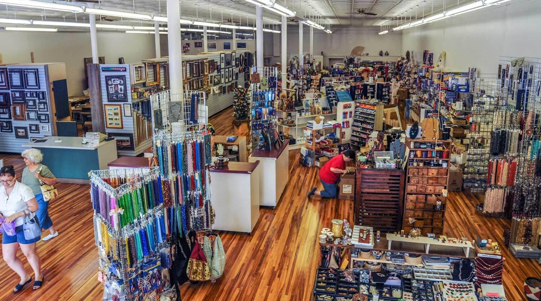 plumb bazaar store interior showing craft items