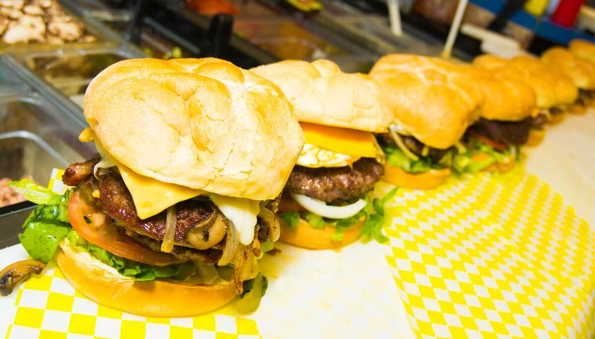 burgers lined up at Do-B's in Emporia, Kansas