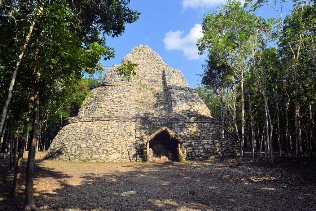 Ruins of the Mayan pyramid Coba in the tropical jungle, Yucatan, Mexico