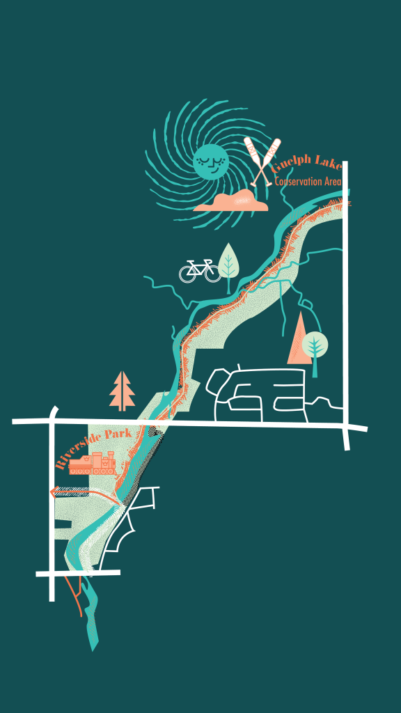Graphic map of Riverside Park trails from the 2019 Spring/Summer Visit Guelph Guide