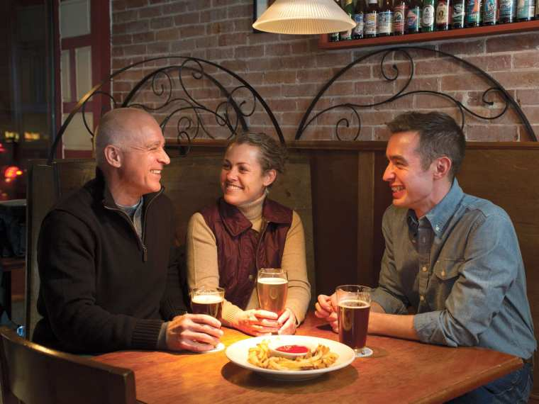 Enjoy a locally crafted beer at the Liberal Cup in Hallowell. Riverside town, local food,