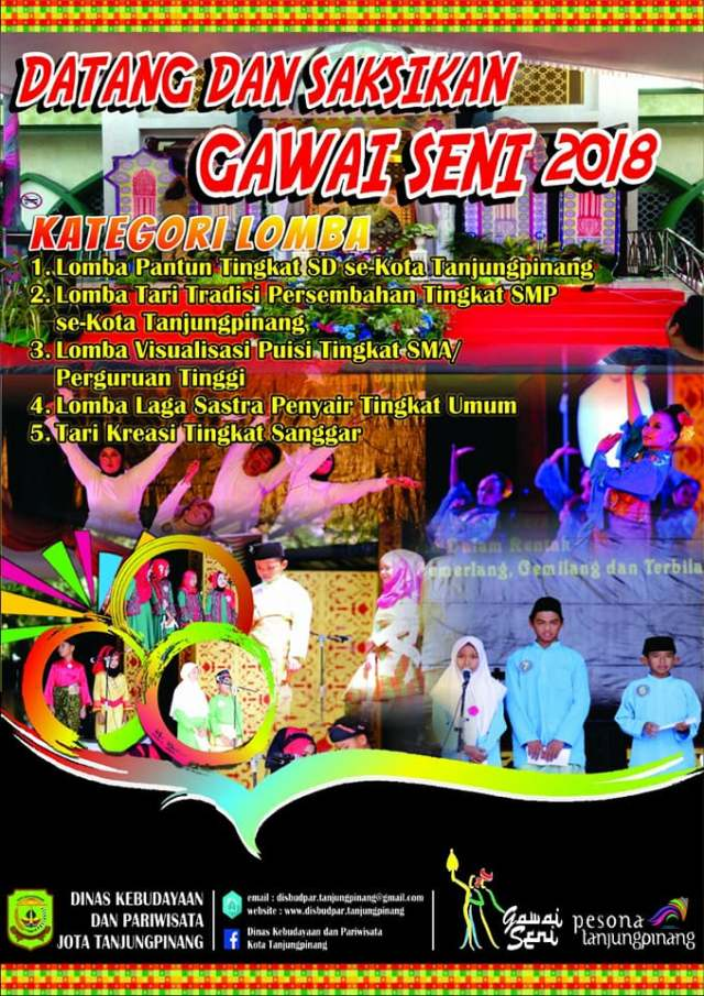 Calendar of Event 2018 - Wonderful Riau Islands - April Mei Kepri Penuh Event - Gawai Seni 2018 Tanjung Pinang (25-28 April 2018)