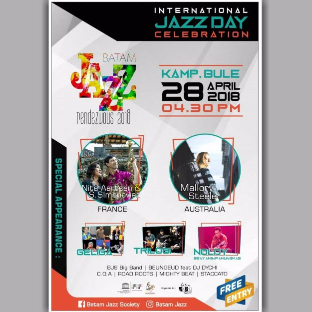 Calendar of Event 2018 - Wonderful Riau Islands - April Mei Kepri Penuh Event - International Jazz Day 2018 Celebration