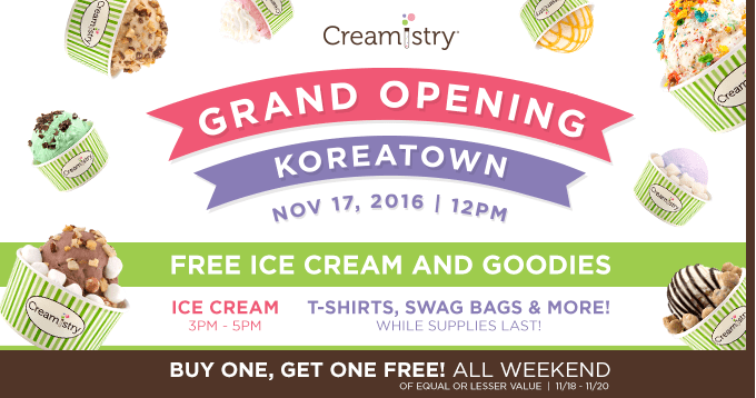 Creamistry Opening in Koreatown LA