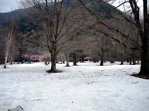 Trail and Road in Kamikochi Where  This Season Has Started