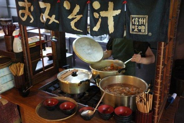 Big pots of miso soup and tonjiru soup